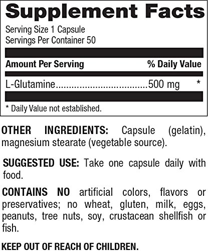 Natural Nutra L Glutamine, 50 Capsules, 500 mg