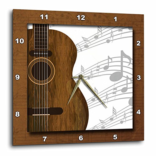 3dRose DPP_149974_2 Guitar Music Concept Wall Clock, 13 x 13