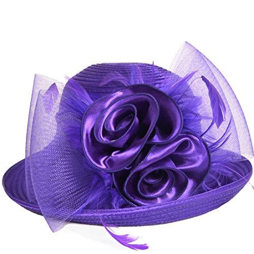 Lightweight Kentucky Derby Church Dress Wedding Hat #S052 (Bowler-Purple)