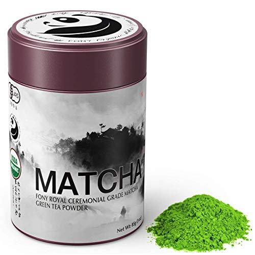 (FONY 85g Japanese Matcha Green Tea Powder, USDA Organic - Authentic Ceremonial Grade (Royal, Tin))