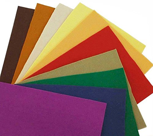 100% Wool Craft Felt - 10 sheet package - from National NonWoven Co. (100 Wool Felt)