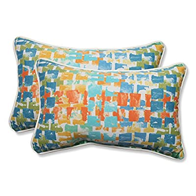 Pillow Perfect Outdoor/Indoor Quibble Sunsplash Rectangular Throw Pillow (Set of 2) - Includes two (2) outdoor pillows, resists weather and fading in sunlight; Suitable for indoor and outdoor use Plush Fill - 100-percent polyester fiber filling Edges of outdoor pillows are trimmed with matching fabric and cord to sit perfectly on your outdoor patio furniture - patio, outdoor-throw-pillows, outdoor-decor - 51Imfi0ub9L. SS400  -