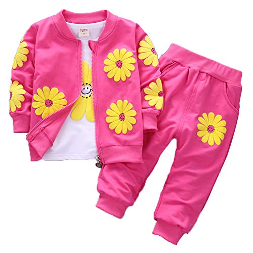 Baby Girls Flowers Print 3 Piece Sets T Shirt Vest and Pants (2-3Years, Hot Pink)