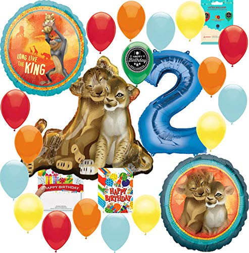 Lion King Party Supplies 2nd Birthday Balloon Decoration Supply Bundle with Happy Birthday Card and 8 Treat Bags -
