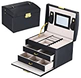 Goldwheat Jewelry Boxes & Organizers Lockable Mirrored Leather Storage Case for Women Girls