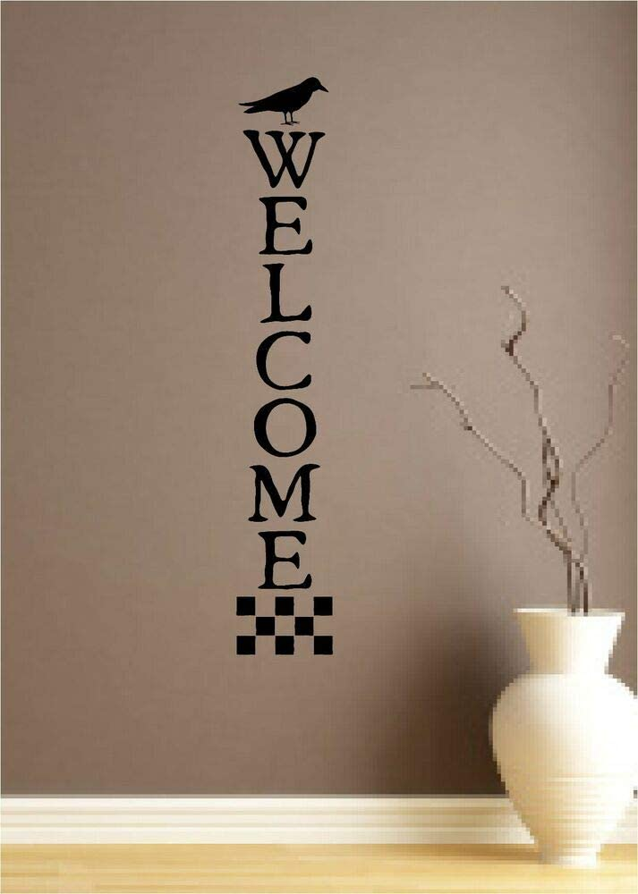 N.SunForest Welcome Vinyl Decal Wall Sticker Words Lettering Primitive Home Decor Crow Bird