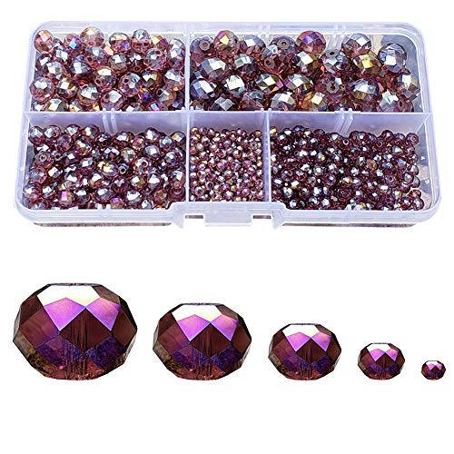 Chengmu 2-10mm Violet Rondelle Glass Beads for Jewelry Making AB Colour 710pcs Faceted Briolette Shape Crytal Spacer Beads Assortments Supplies for Bracelet Necklace with Elastic Cord Storage Box ()