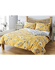 RW Home Floral Easy Care Duvet Set Mustard Grey