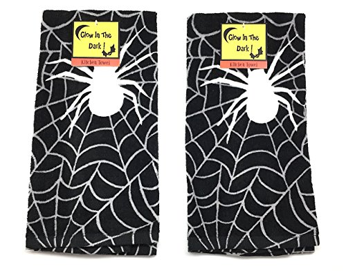 Halloween Kitchen Towels Glow in the Dark Set of 2 is one of our favorite fun camping Halloween decorations for your campsite and ideas for decorating your RV