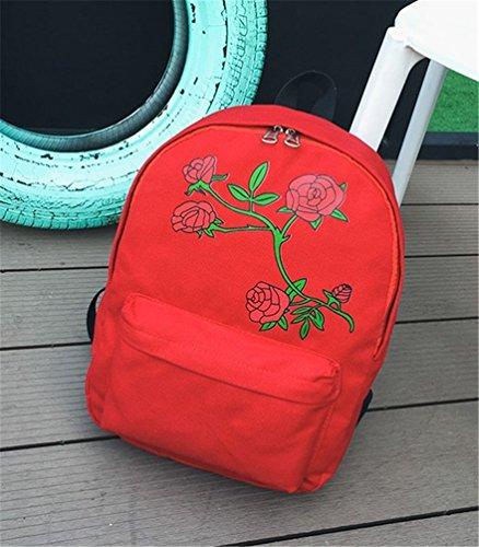 10 Ladies W Bag Satchel 6inch Handbag Backpack Shoulder Women's Floral 15inch L Book School White H Embroidered 4 3inch Girls Red Bag Rucksack Canvas 6qAwwp