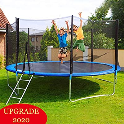 Pikolai 12 FT Large Easy-to-Assemble Trampoline, Recreational Trampoline Set with Premium Jumping Mat Safety Enclosure System Ladder, Perfect for Outdoor Exercises or Games (Blue) : Sports & Outdoors