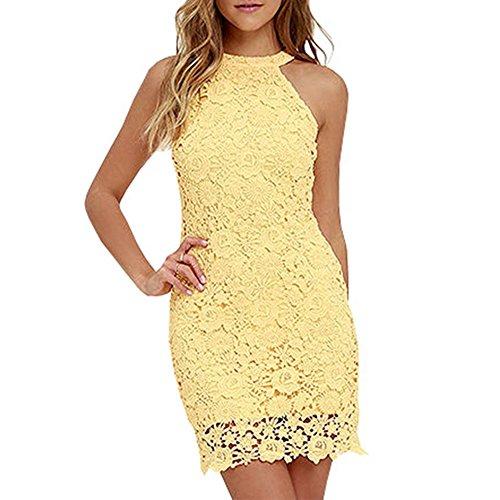 Lace Dress (Women Elegant Wedding Party Sexy Night Club Halter Neck Sleeveless Sheath Bodycon Lace Dress Short 2017, Yellow, Medium)