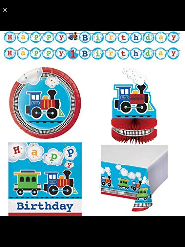 (All Aboard! Train Themed Happy Birthday Party Supplies Serves 16: Cake Plates + Lunch Napkins + Banner + Table Cover +)