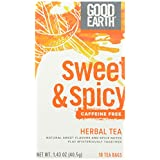 Good Earth Sweet & Spicy Caffeine Free Herbal Tea, 18 Count Tea Bags (Pack of 6)