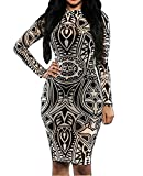 Womens Sexy Vintage Tribal Tattoo Print Cocktail Party Pencil Dress