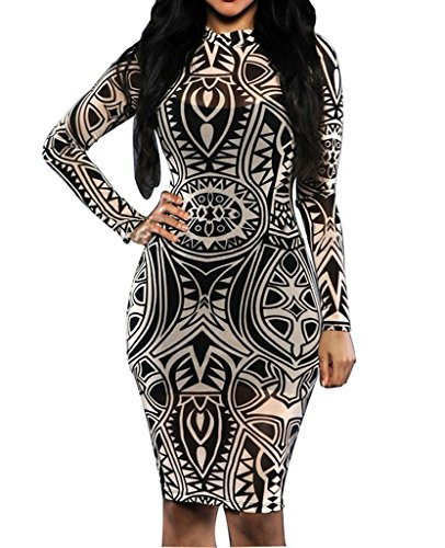 Womens Sexy Vintage Tribal Tattoo Print Cocktail Party Pencil Dress Medium Black (Tribal Print Tattoos)