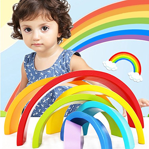 Sealive Wooden Rainbow Stacker Montessori Toys for Toddlers, Nesting Stacking Game Learning Color Shape Matching Jigsaw Puzzle, Geometry Building Blocks Educational Toys Development Gift for Kids (Grimms Extra Large 12 Piece Rainbow Stacker)