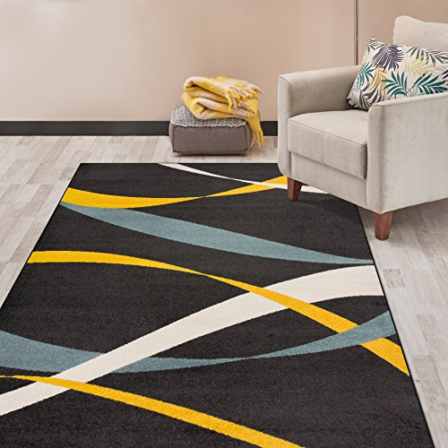 Rugshop Modern Waves Design Area Rug
