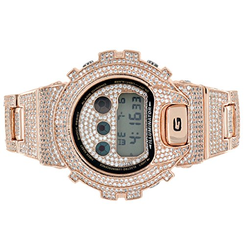 Custom Gshock Iced Out Watch Rose Gold Finish DW6900 Simulated ()