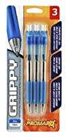 Promarx Grippy Retractable Ballpoint Pens with Clear Barrel, 1.0 mm, Blue, 3 Count