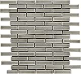 M S International Dove Gray Brick 12 In. X 8 mm Ceramic Mesh-Mounted Mosaic Wall Tile, (10 sq. ft., 10 pieces per case)