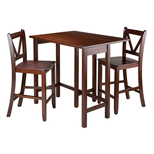 Winsome 3-Piece Lynnwood Drop Leaf Table with 2 Counter V-Back Stools, Brown