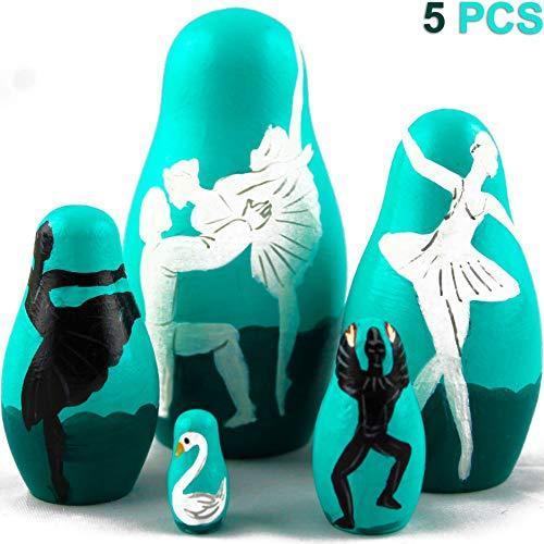 MATRYOSHKA&HANDICRAFT Ballet Gifts - Russian Nesting Dolls Ballet Theme Set 5 pcs