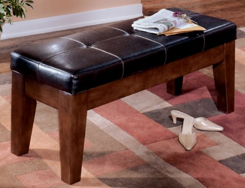 Ashley Furniture Signature Design   Larchmont Large Dining Room Bench   Upholstered   Vintage Casual   Burnished Dark Brown