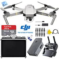 DJI Mavic Pro Platinum Quadcopter Drone with 4K Camera and Wi-Fi (CP.PT.00000071.01) with 2nd Battery, Custom Fit Hard Case, 16GB Flash Drive, 32GB Memory Card, and Cleaning Kit