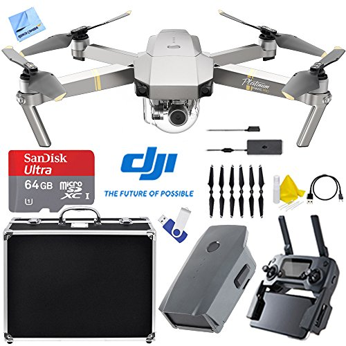 DJI Mavic Pro Platinum Quadcopter Drone with 4K Camera and Wi-Fi (CP.PT.00000071.01) with 2nd Battery, Custom Fit Hard Case, 16GB Flash Drive, 32GB Memory Card, and Cleaning (Quad Camera Kit)