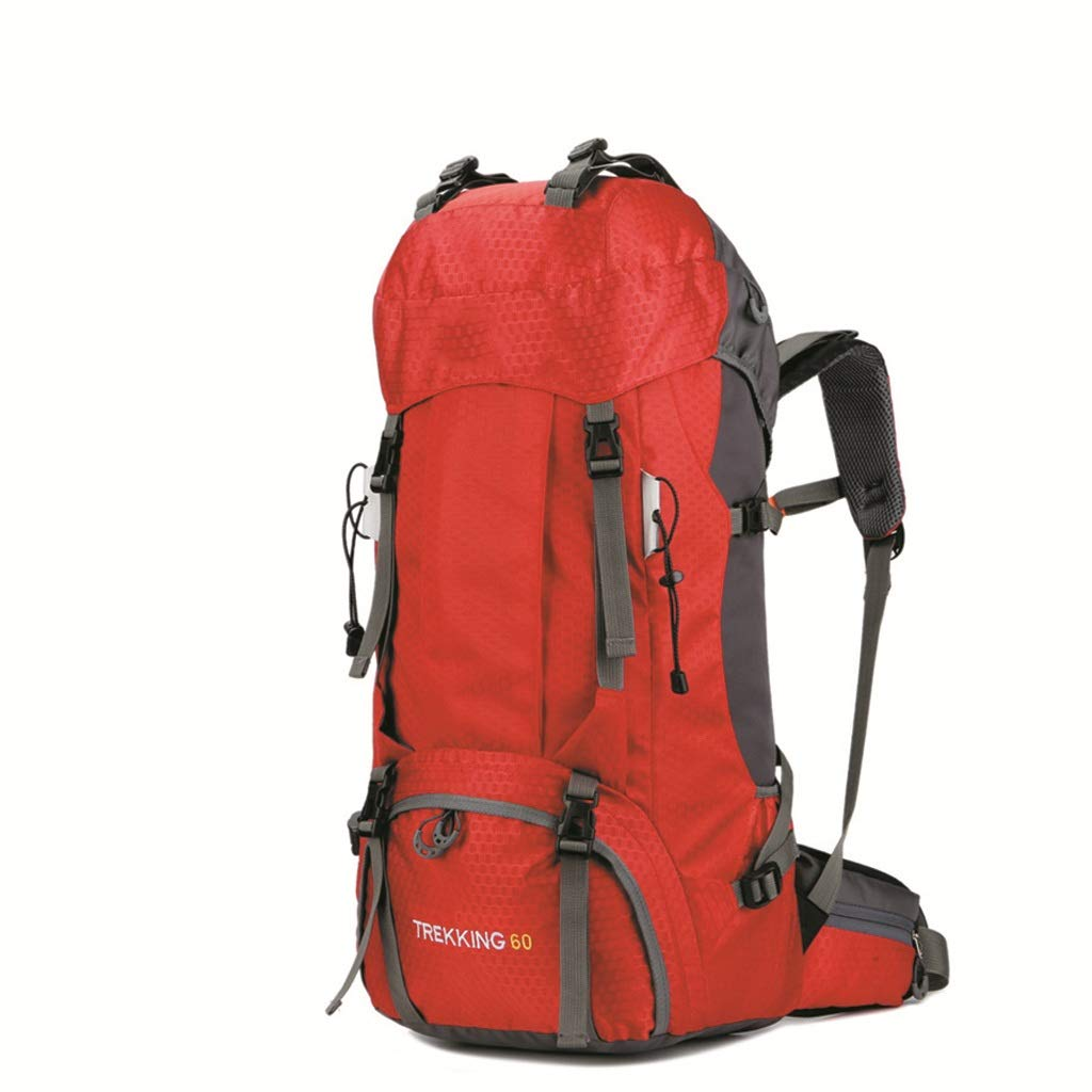 60L大容量登山バッグ防水旅行バッグ男性と女性の登山バッグ(赤) (色 : A)  A B07GZKXXJT