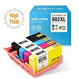 myCartridge Remanufactured Ink Cartridge Replacement for HP 902XL (4-Pack, 1 Black 1 Cyan 1 Magenta 1 Yellow) OfficeJet Pro 6968 6978 6958 6962 6960 Printer