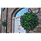 2 Best Artificial (TM) 30cm Purple Lush Lavender Long Leaf Topiary Grass Flower Balls **UV Fade Protected**