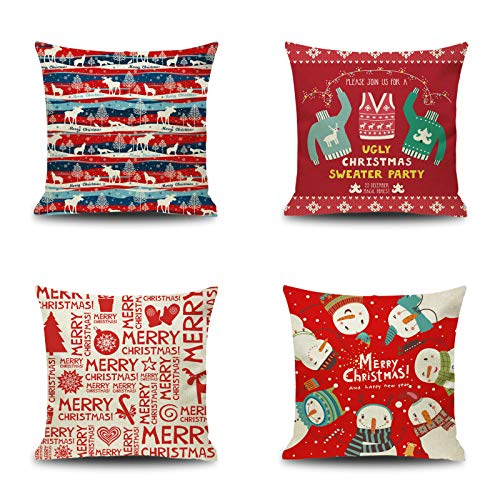 YOUR SMILE Set of 4 Merry Christmas and Happy New Year Square Cotton Linen Decorative Throw Pillow Case Cushion Cover Pillowcase for Sofa 18 x 18 Inch, Red/White ()