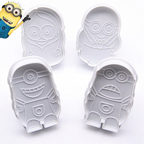 Anyana 4pcs/set Cartoon Mould Despicable Me Minion Cookie Cutter Plunger Fondant Wedding Cake Decorating Tools DIY Cake Mold]()