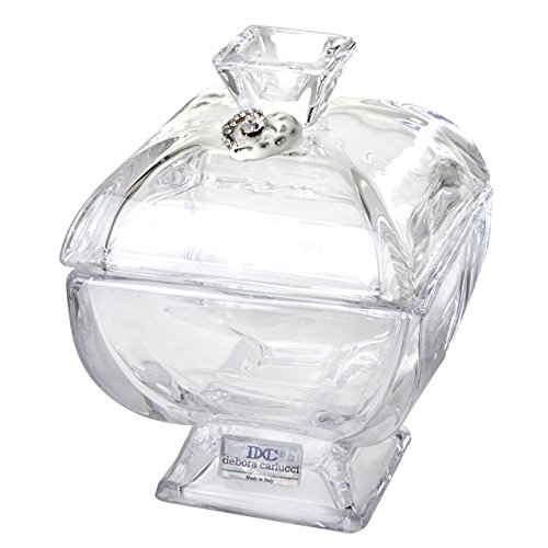 (5th Avenue Collection Italian Crystal Candy Dish, Candy Bowl With Porcelain Heart and Swarovski Accents, Made In Italy)