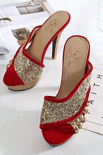 à Cocktail Enfiler Femme Paillettes Rouge Aisun Sexy Fille Plateforme Mules xqYI6HO