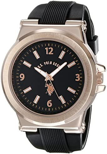 U.S. Polo Assn. Sport Men s USC90006 Rose Gold-Tone and Black Silicone Strap Watch