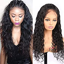 Sunwell 360 Lace Frontal Wig Pre Plucked Hairline Brazilian Virgin Hair Water Wave 150% density Glueless Human Hair Lace Wigs for Black Women with Baby Hair 22inch
