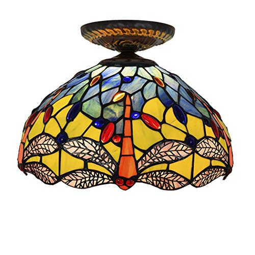 Tiffany Style Stained Glass Dragonfly 1-Light Hanging Lamp Ceiling Fixture, 12-Inch Wide Retro Semi Flush Mount Pendant Hanging Light,A