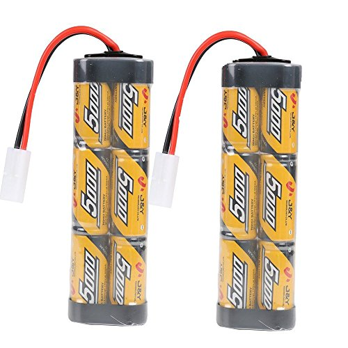FUZADEL 2 Pack 5000mAh 7.2V Nimh RC Battery Packs for Rc Racing Car/Boat/Tank,Electric Rc Monster Trucks,Traxxas with Tamiya Connectors
