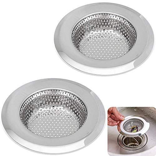 Kitchen Sink Strainer - 4.5 Inch Dia - 2PCS Sink Strainers - Stainless Steel Sink Drain Cover - Perfect Fit for Almost All US Kitchen Sinks, No Rust, Sturdy Build, Chic Modern Finish - Aisxle