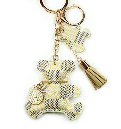PU Leather Bear Keychain Check Canvas Patten Textile Tassel Handbag Key Charm Ring Pendant Chain (Cream Bear)
