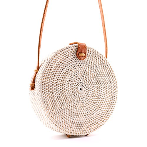 (Seven Island Women Cute Chic Handwoven Round Straw Rattan Bamboo Weave Shoulder Leather Straps Beach Button Snap Closure Crossbody Handbag Bag (Round Straw Rattan Bag)