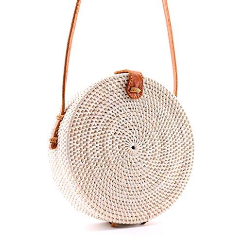 Seven Island Women Cute Chic Handwoven Round Straw Rattan Bamboo Weave Shoulder Leather Straps Beach Button Snap Closure Crossbody Handbag Bag (Round Straw Rattan Bag White) ()