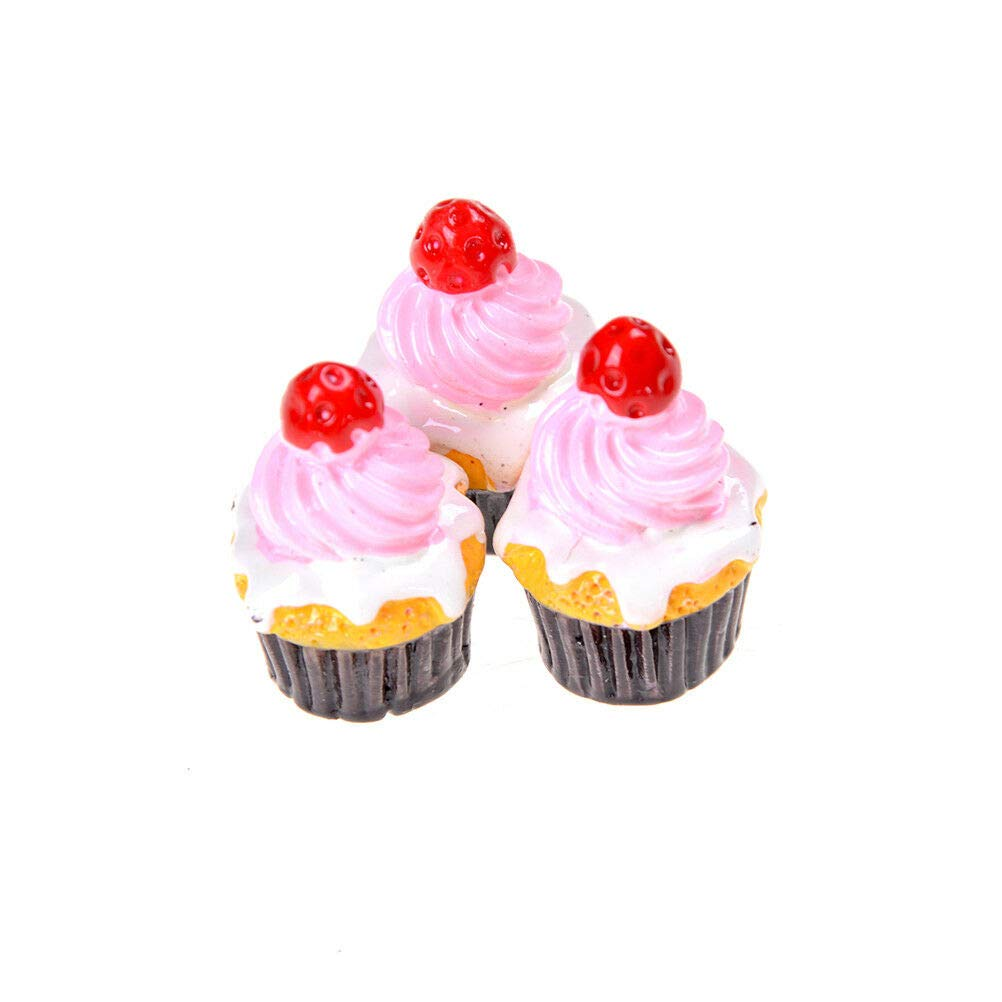 10pcs Mushroom Cup Cake Miniature Food Models Dollhouse Accessories/%/&