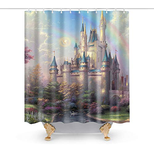 Kntiline Cinderella Castle Rainbow Kids Theme Fabric Shower Curtain Sets Bathroom Decor with Hooks Waterproof Washable 72 x 72 inches Green Red and Brown