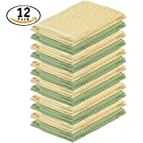DecorRack 12 Pack Kitchen Dish Cloths, 100% Cotton, 12 x 12 inch Dish Towels, Perfect Cleaning Cloth for Washing Dishes, Kitchen, Bar, Counter and Car, Pastel Yellow & Green (Pack of 12)