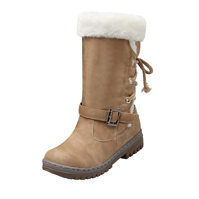 Botas Mujer Otoño Invierno 2018❤ZARLLE Moda Zapatos de Mujer de Invierno Botas de Nieve Media Pierna Mujer Lana Falsa Forrado De Vellón Térmico Impermeable ...