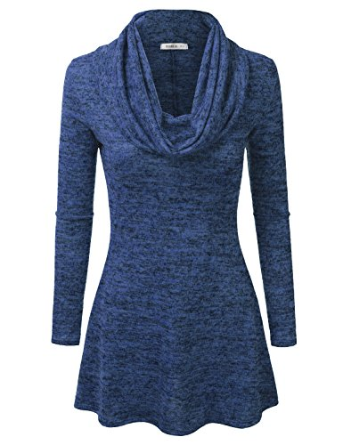 [Doublju Marled Cowl Neck A-Line Tunic Sweater Dress Top (Made In USA / Plus size available) ROYAL] (Cheap Plus Size Fancy Dress)